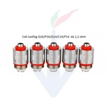 Testine Coil 1,2 ohm per C14 / G14 / S14 /Q14 /Q16/ P16a Confezione da 5 Pezzi - Justfog